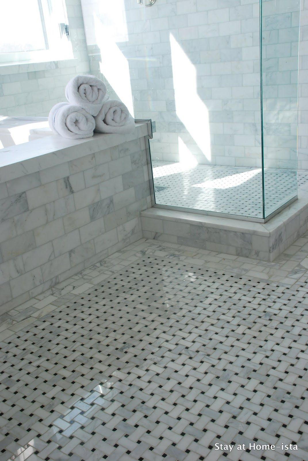 35 nice pictures and photos of old bathroom tile house for Carrara marble bathroom floor designs