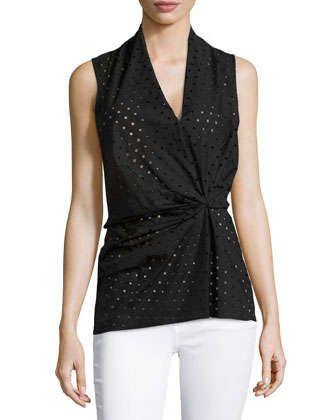 Laser-Cut+Sleeveless+Blouse,+Black+by+Natori+at+Neiman+Marcus. $195