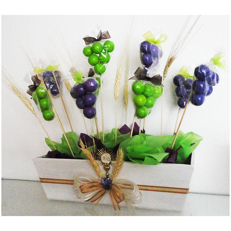 Centro de mesa 1a comuni n paletas en forma de uva uvas - Centros de mesa para comunion ...