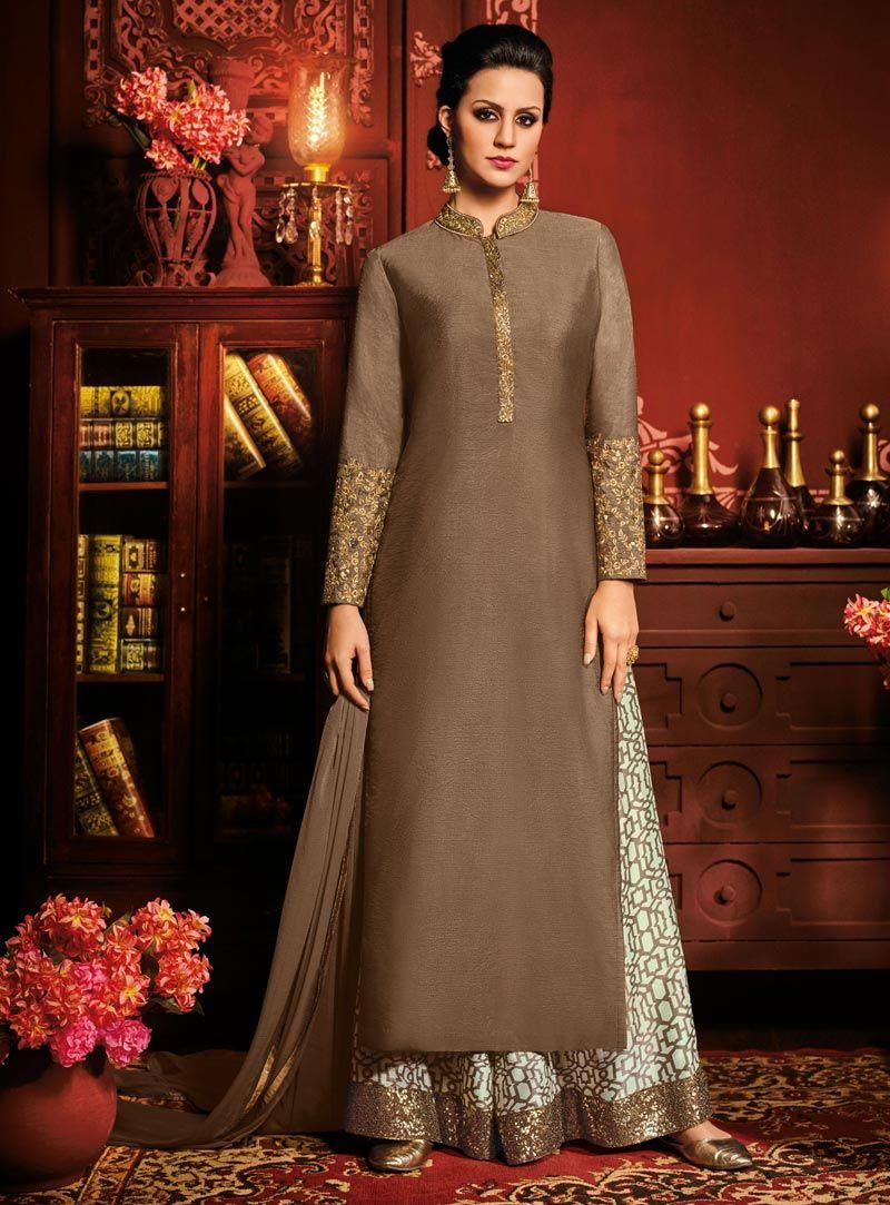 0604dae2f4 Brown Silk Palazzo Style Suit 90830 | palazzo suit | Punjabi dress ...