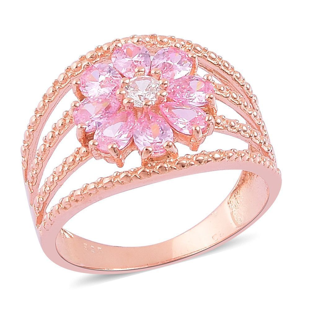 Pink posh white diamond simulate 14k rose gold over sterling open ...
