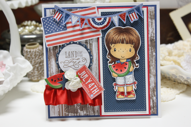 Made by Cindy Hoesel, CC Designs, Watermelon Abigail, July 4th card, card, Copics,