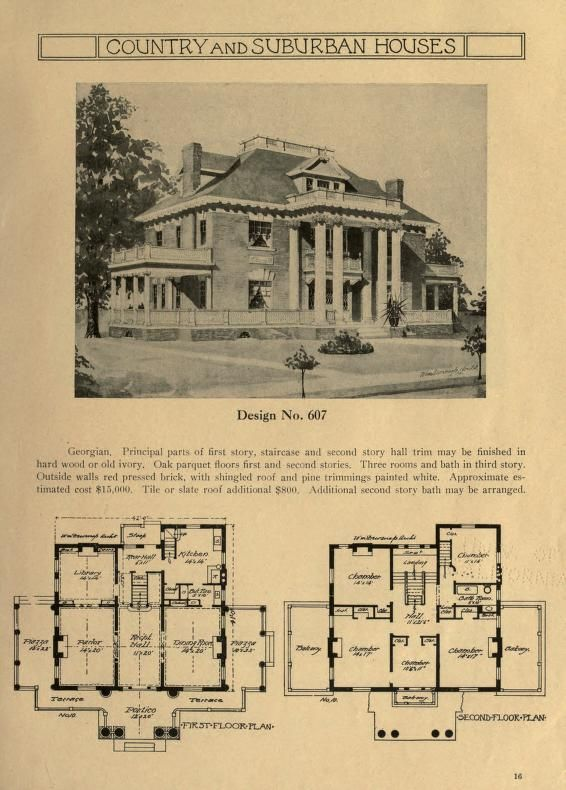 Country And Suburban Houses A Collection Of Exterior And Interior Sketches With Floor Plans For H Architectural Floor Plans Suburban House Vintage House Plans