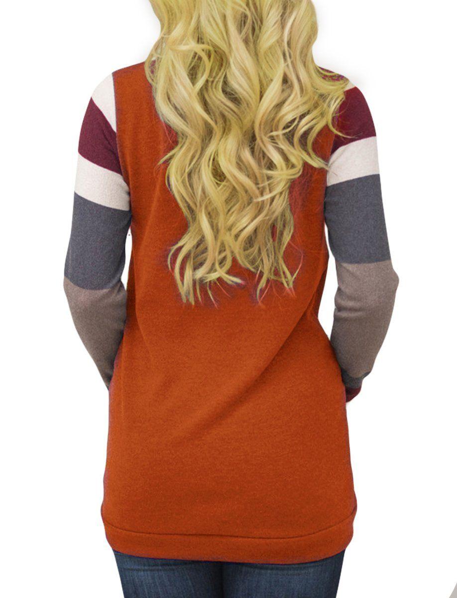ba2a92727 Ladylala Womens Color Block Long Sleeve Sweatshirt Tunic Tops Lightweight  Kangaroo Pocket T Shirts by Red