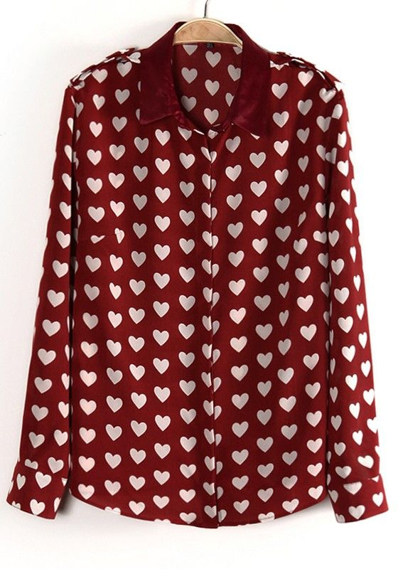 Red Love Print Long Sleeve Cotton Blend Blouse