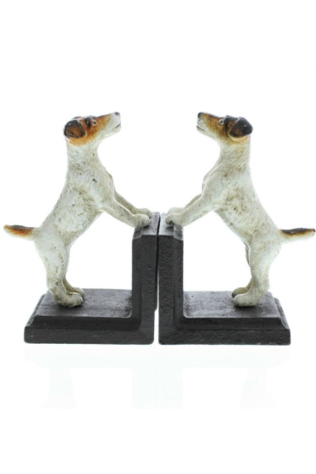 """These hand-painted cast iron bookends capture the energy & spirit of Jack Russell terriers - yet functional for keeping your books neat & organized!    Measures: 4"""" W x 3"""" D x 6"""" H each   Jack Russell Bookends by BUDD + FINN. Home & Gifts - Home Decor - Decorative Objects Portland, Oregon"""