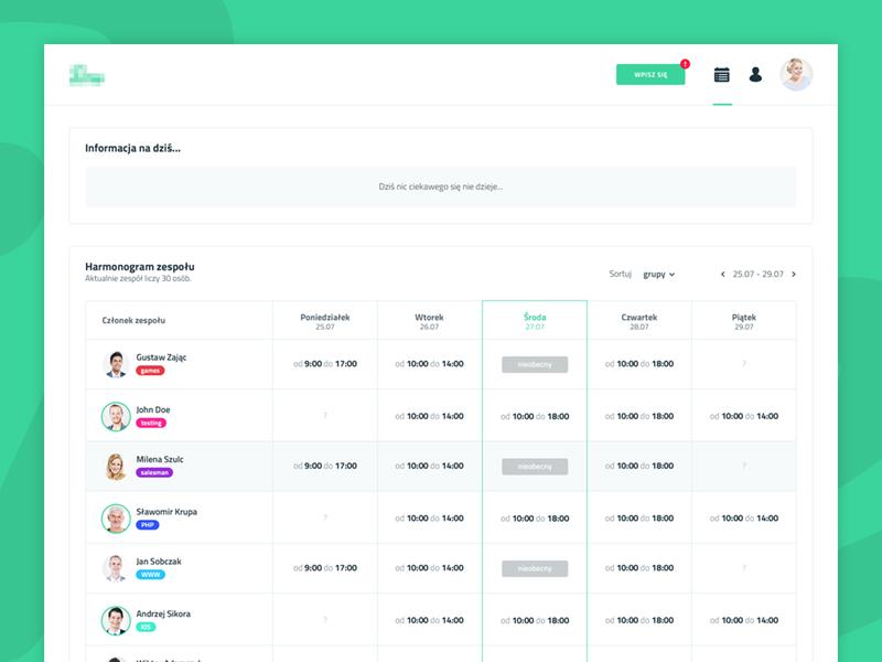 Company Timesheet Dashboard | ui/ux design | Dashboard