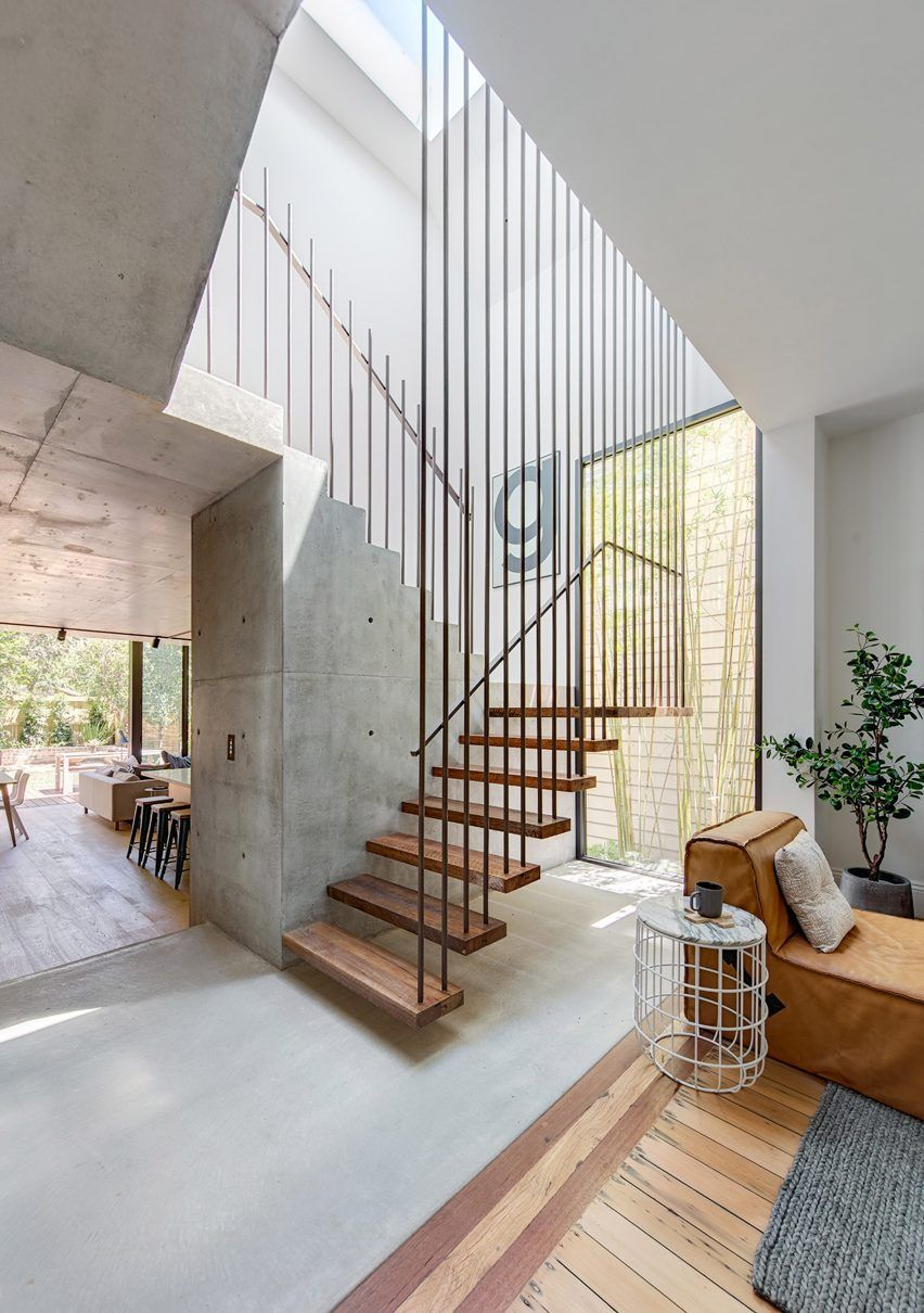 Co ap adds contemporary concrete and glass extension to sydney home floating staircase also best stairs images stair design interior modern rh pinterest