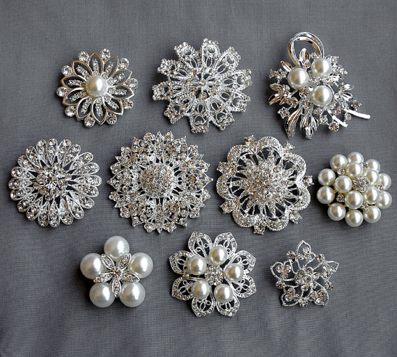 52218d17f 10 Rhinestone Brooch Button Embellishment X by yourperfectgifts, $27.50