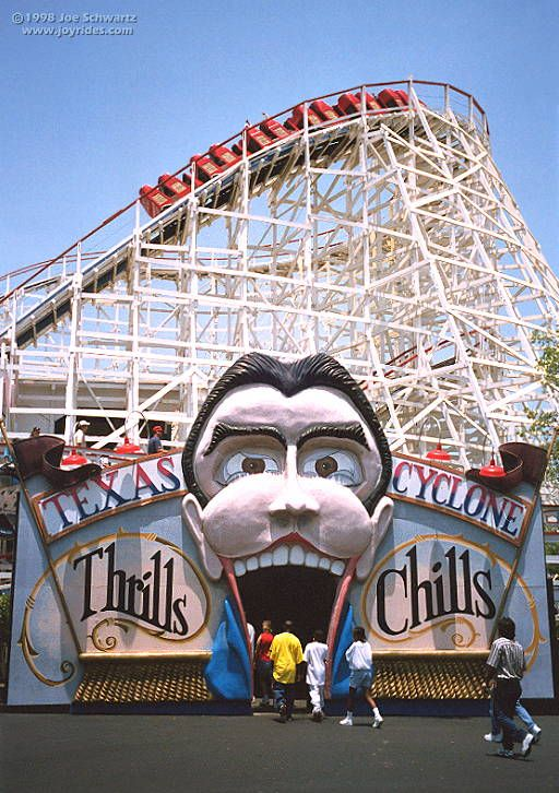 Astroworld Coney Island Texas Cyclone 1976 Not Sure Which Is The Original Entrance Astroworld Houston Scary Roller Coasters Houston History