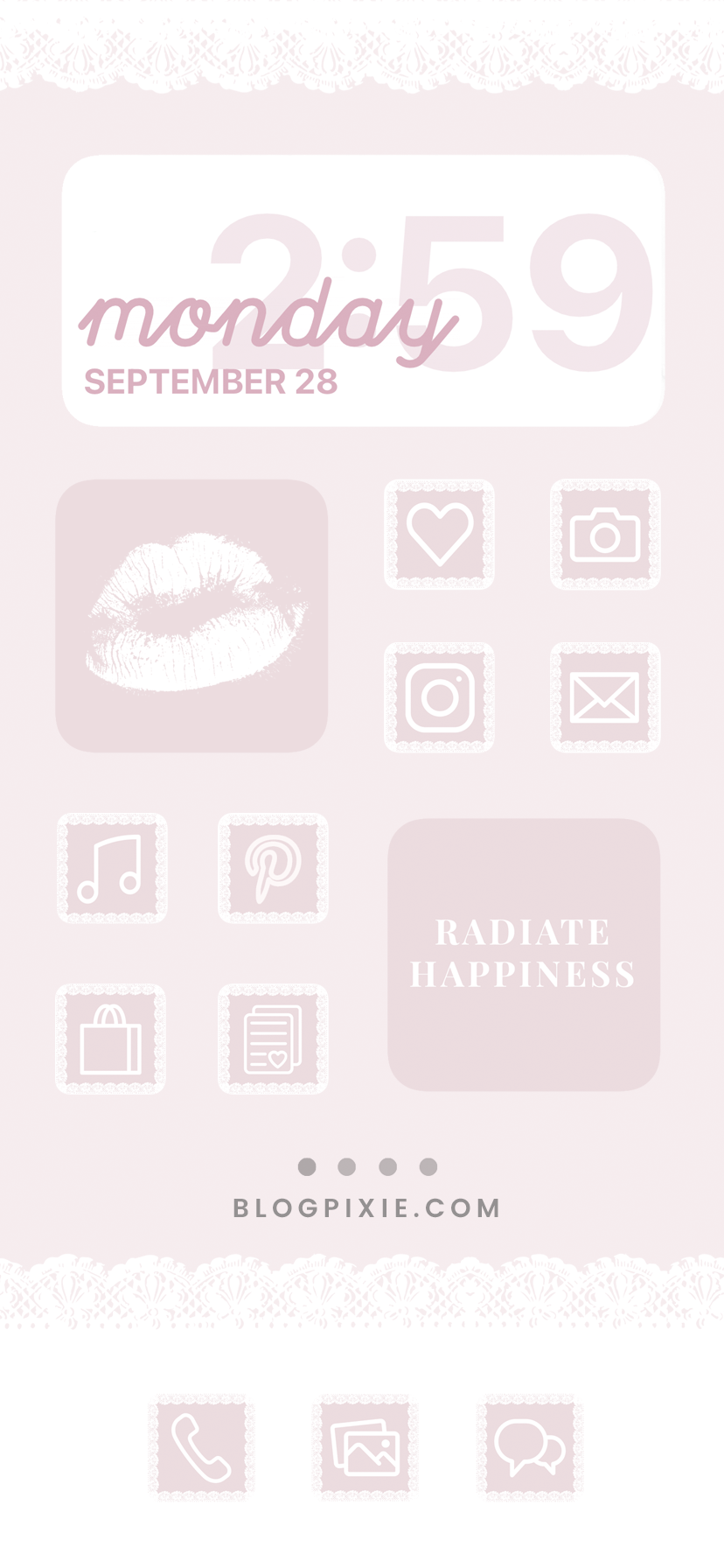 Cute Pink App Icons Aesthetic Ios 14 Home Screen Pink White Lace Girly App Icons Pretty Iphone App Icons App Covers Blog Pixie Homescreen Vintage App App Icon