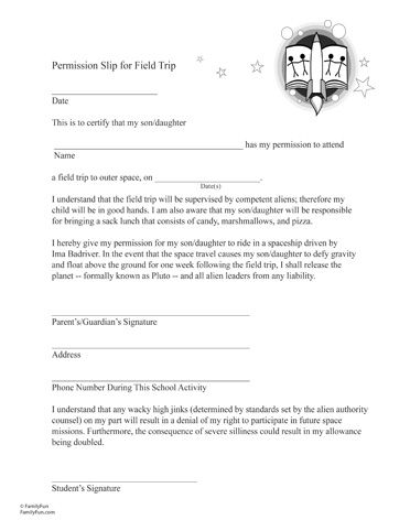 April Fools - Fake permission slip for a field trip to outer space - parent release form