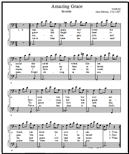 Free Printable Music Sheets Amazing Grace Solo And Duet