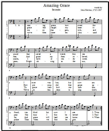 Amazing Grace Piano Sheet Music And Lyrics: Free Printable Music Sheets Amazing Grace