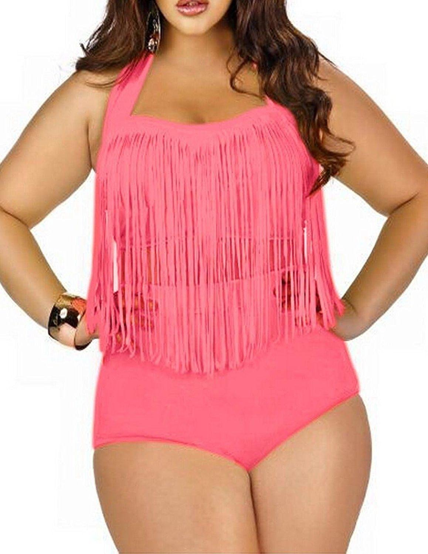 4b248a0e9b Women s Vintage Plus Size High Waist Fringe Bikini Retro Swimwear ...