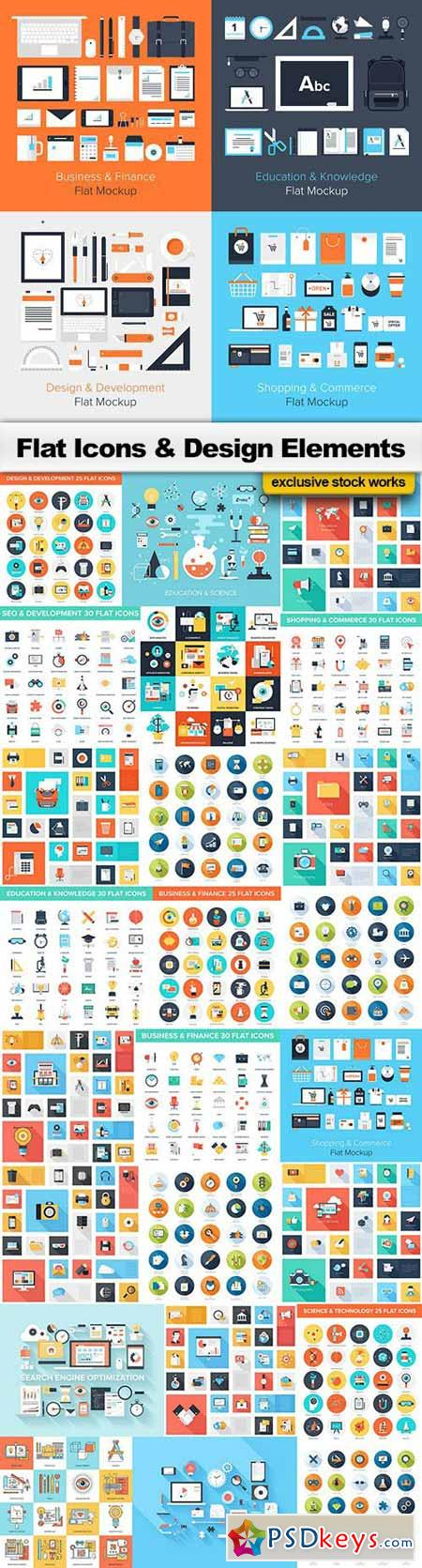 Flat design collection 3 25xeps flat budle pinterest flat design gumiabroncs Images