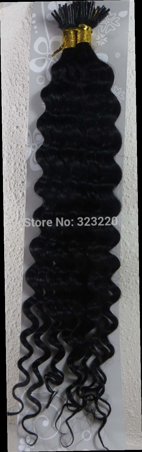 """49.59$  Watch now - http://aliqlm.worldwells.pw/go.php?t=860175706 - """"Wholesale Indian 22"""""""" Women Remy Stick Tip I tip Human Hair Extensions Deep Wave Curly 1g/s 100strands Jet Black #1"""""""
