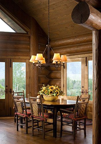 Log Home Dining Room,log Dining Room,dining Room,dining Rooms