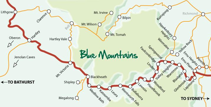 Australia Map Mountains.Blue Mountains Region Location And Maps Blue Mountains Australia