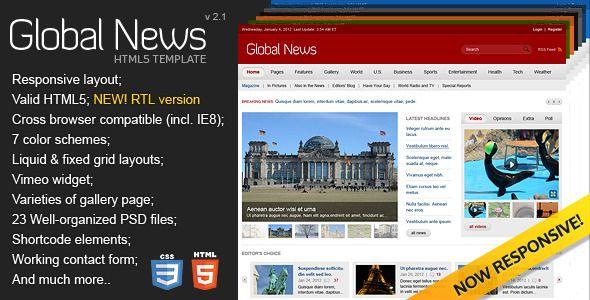Global news portal html5 css3 template template global news portal html5 css3 template maxwellsz