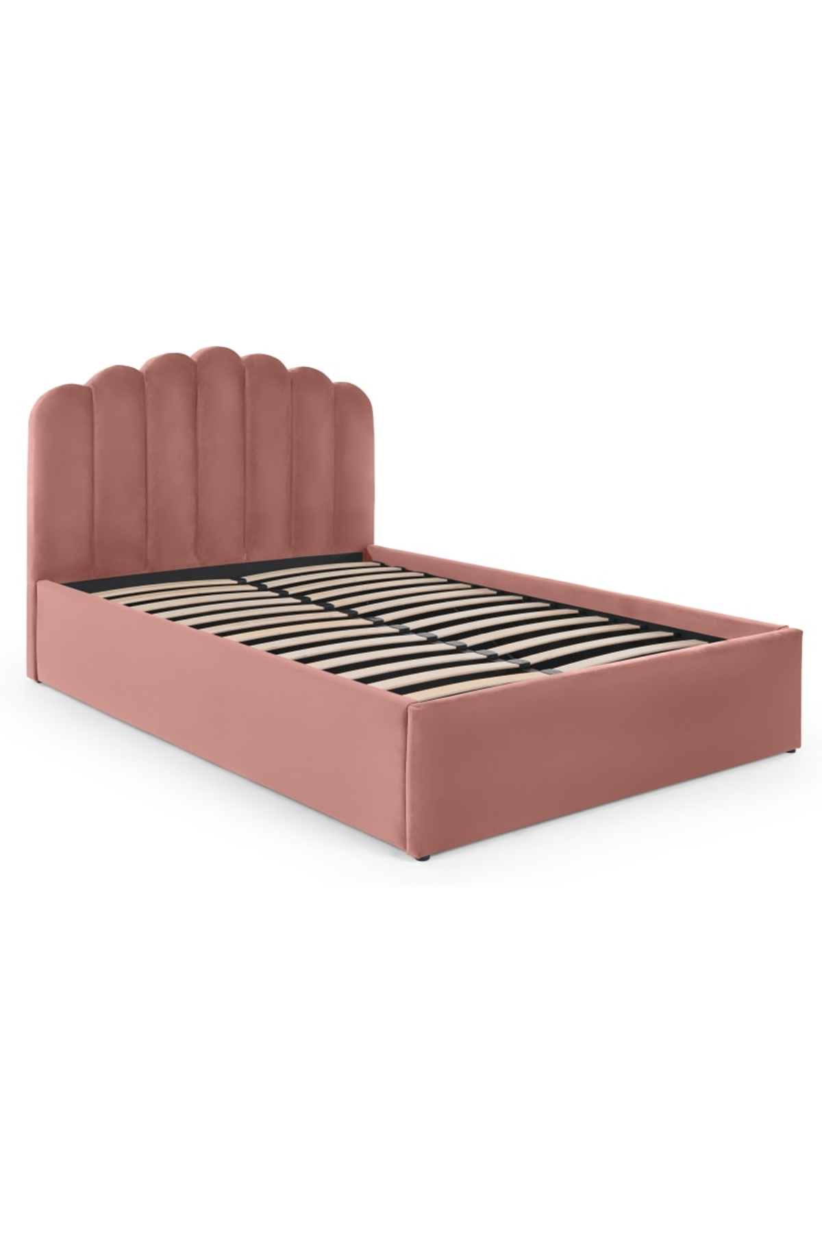 Delia Double Bed With Ottoman Storage Blush Pink Velvet King