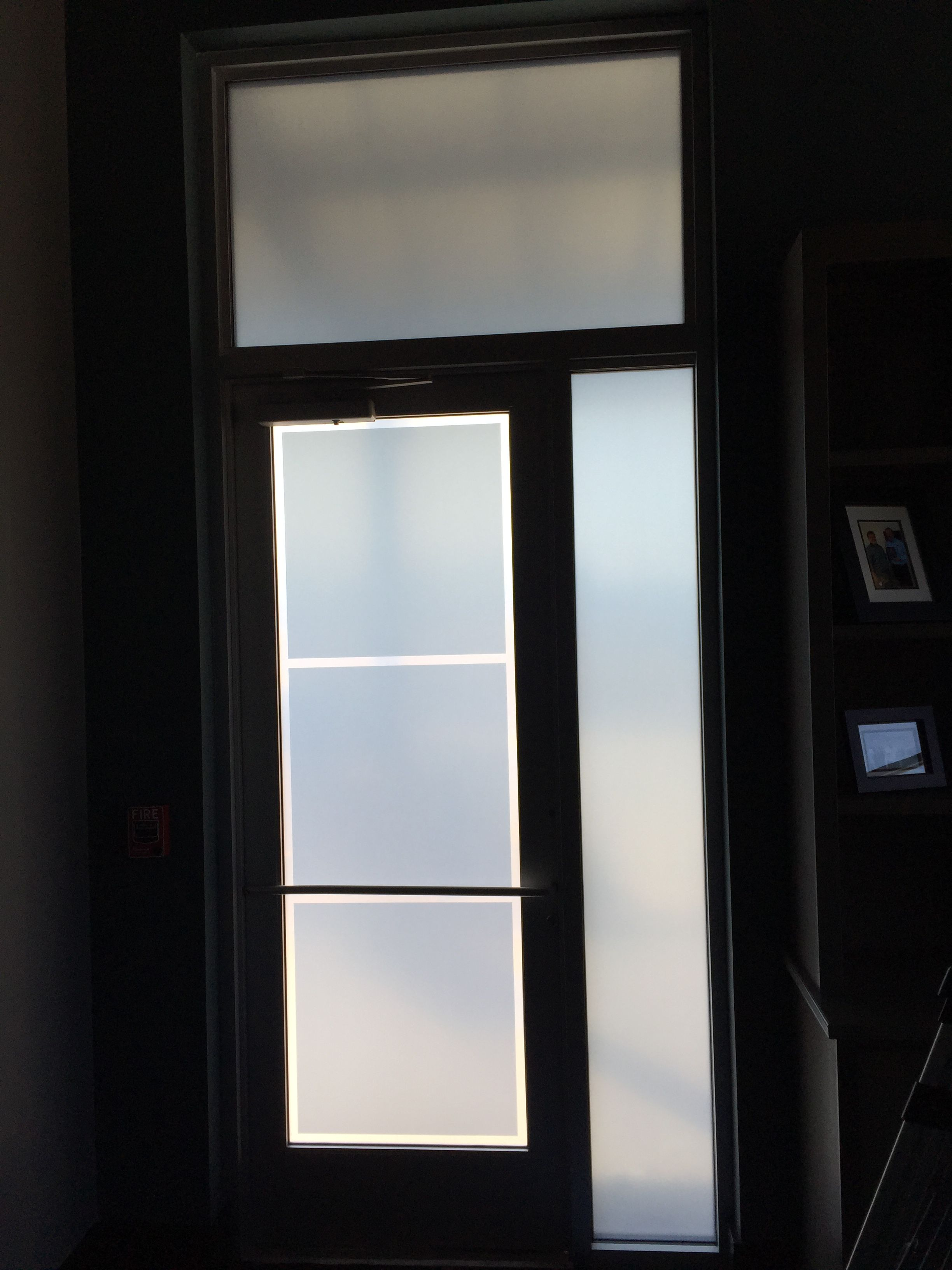 solar shade window tint inside of office door covered with grey and white frost window film https pin by solar shades co on window tinting pinterest