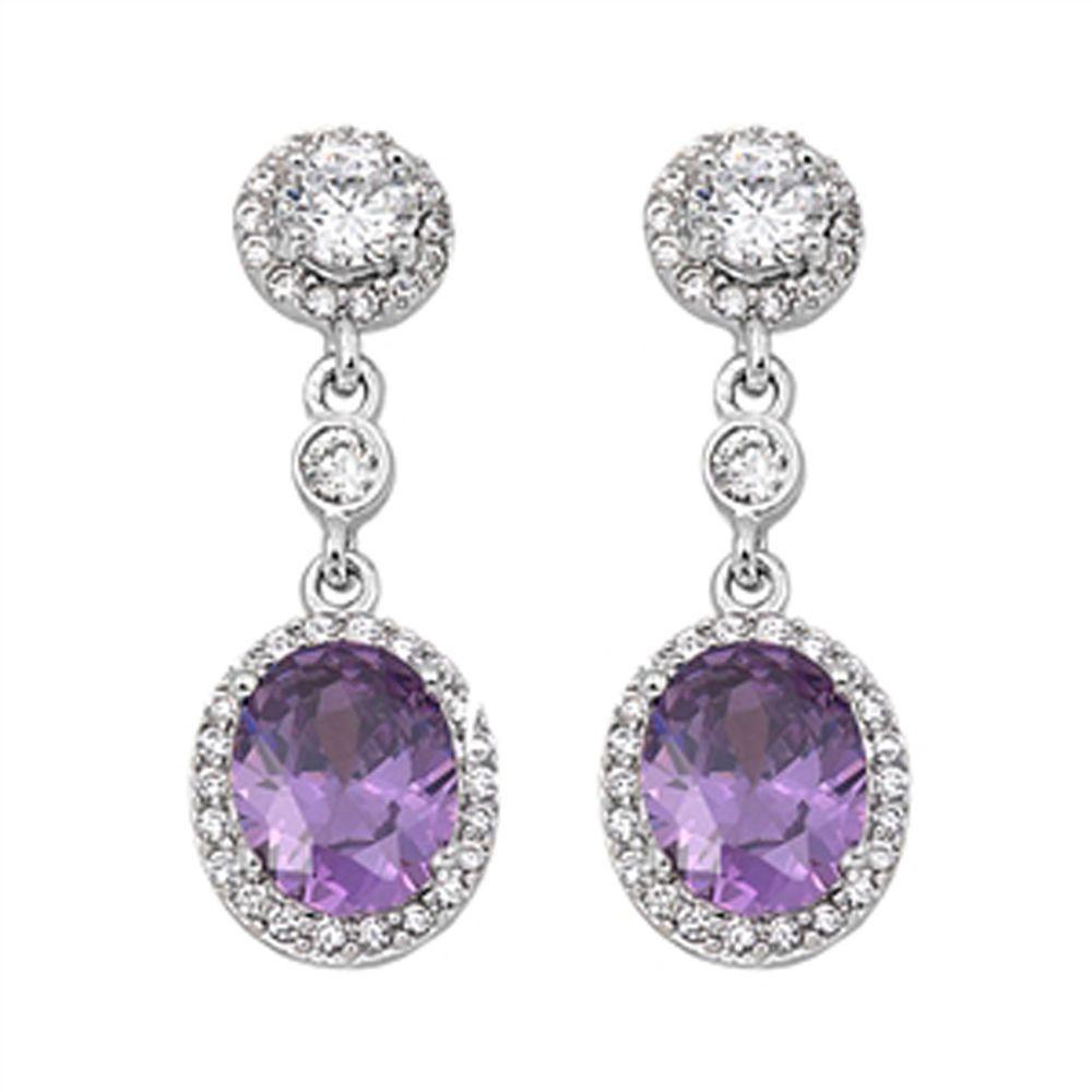 ebfcb8b17 Amethyst & Cz Chandelier Drop .925 Sterling Silver Earrings ...