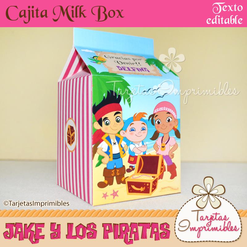 Cajita Milk box Jake y los piratas rosa