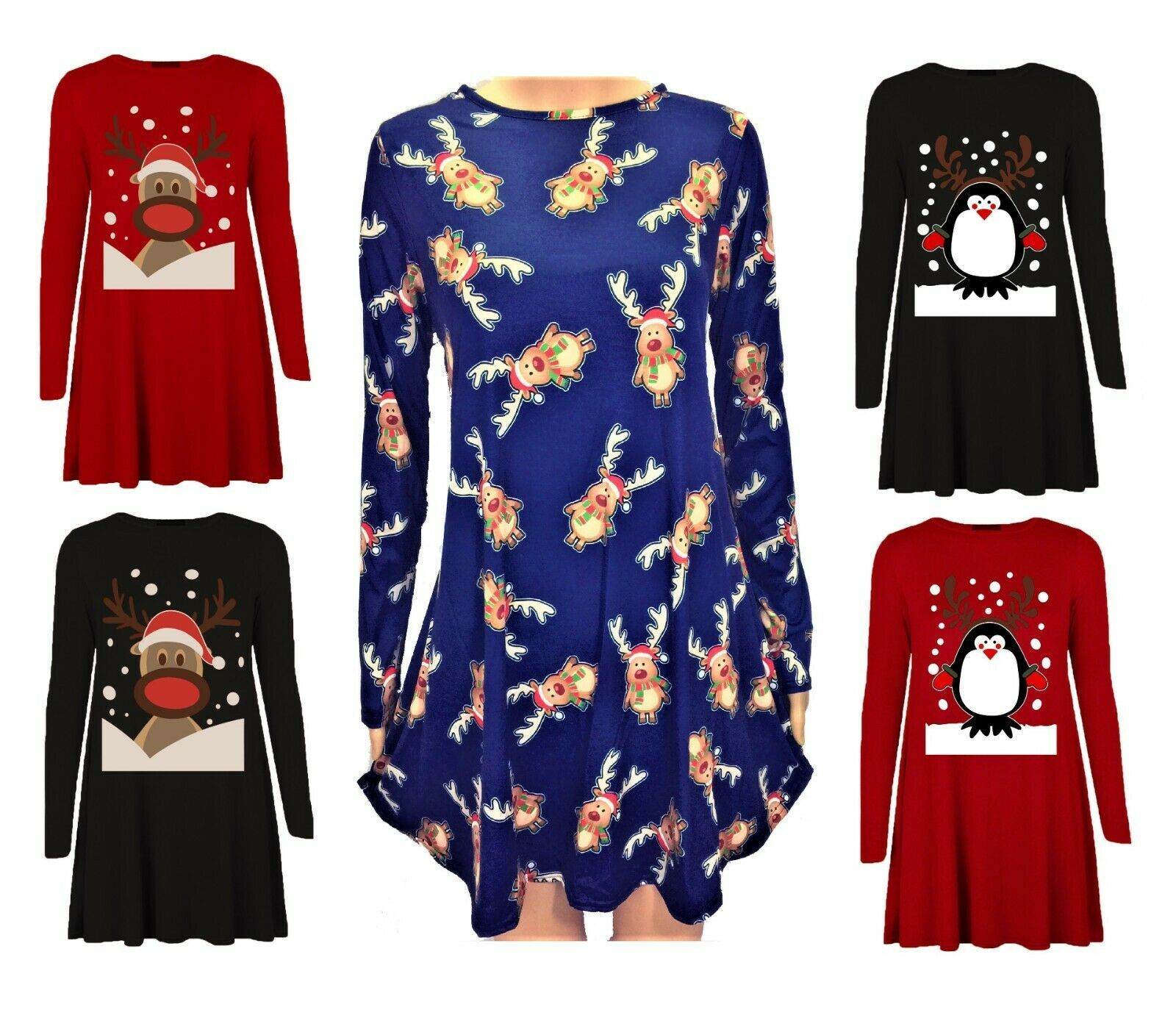 UK Womens Christmas Jumper Dress Santa Snowman Long