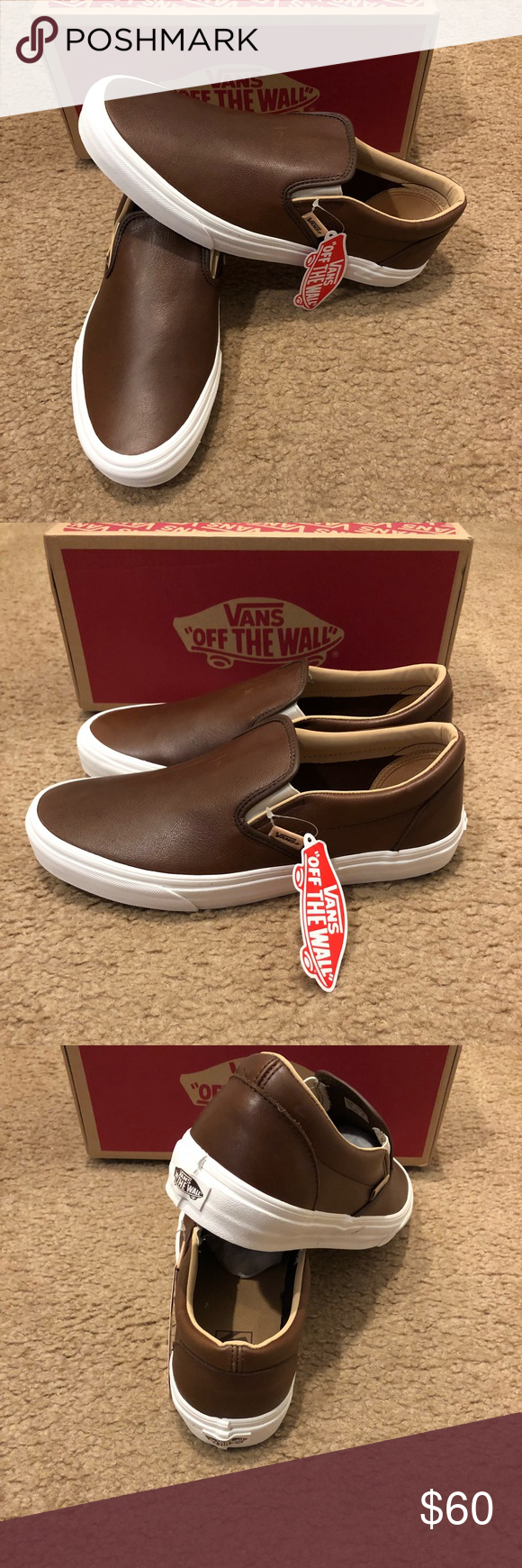 Lux Leather Classic Slip On Vans New in box. Shaved Chocolate Porcini Vans  Shoes Sneakers 3505e0a33