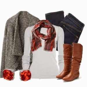 Grey Woollen Shawl, White Sweater, Amazing scarf, Jeans and Long Boots for Winters Outfit by Anna Simson