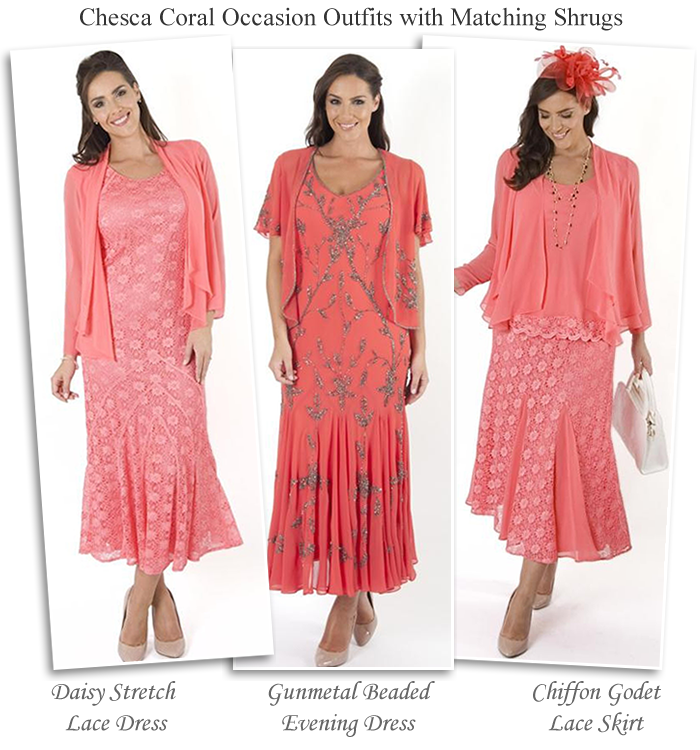 33090023d32 Chesca coral pink plus size Mother of the Bride outfits occasion dresses  lace skirts with matching shrugs