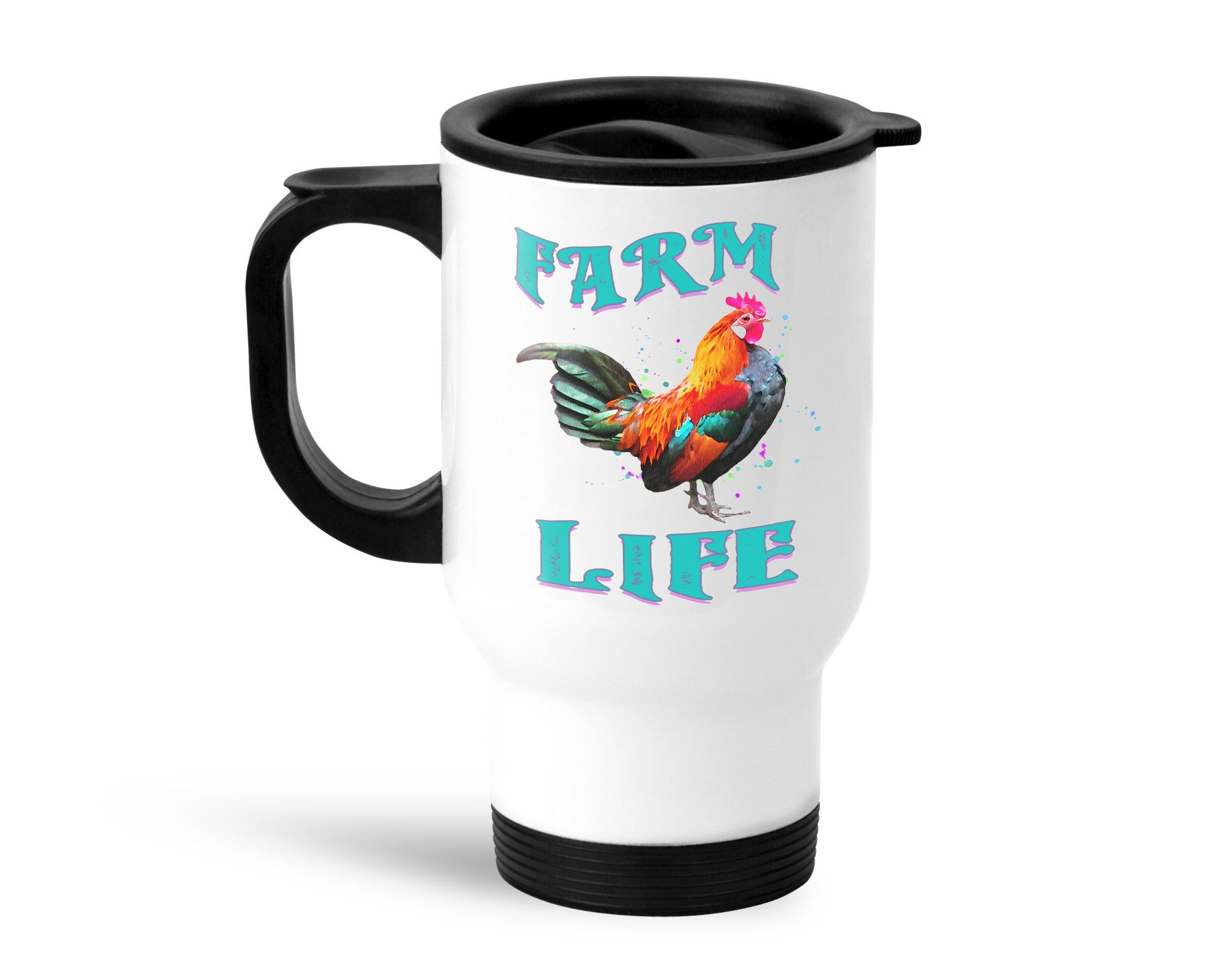 Farm Life Rooster Stainless Steel Travel Mug with Lid and