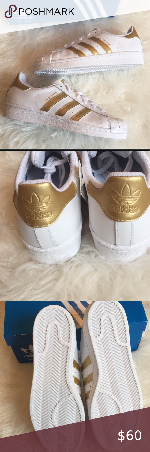 Adidas Superstar womens sneakers white gold stripe Size 6.5