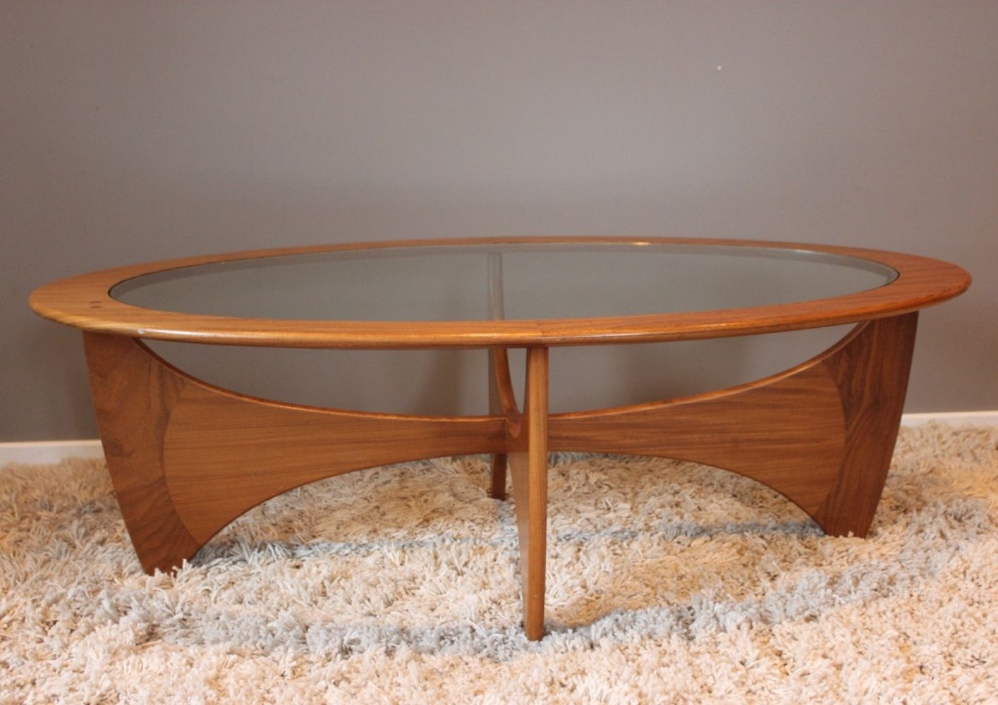 For sale Vintage teak & glass oval coffee table by Victor