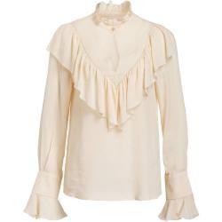 Reserved - Bluse mit Lochmuster und Stehkragen - Elfenbein ReservedReserved #seebychloe
