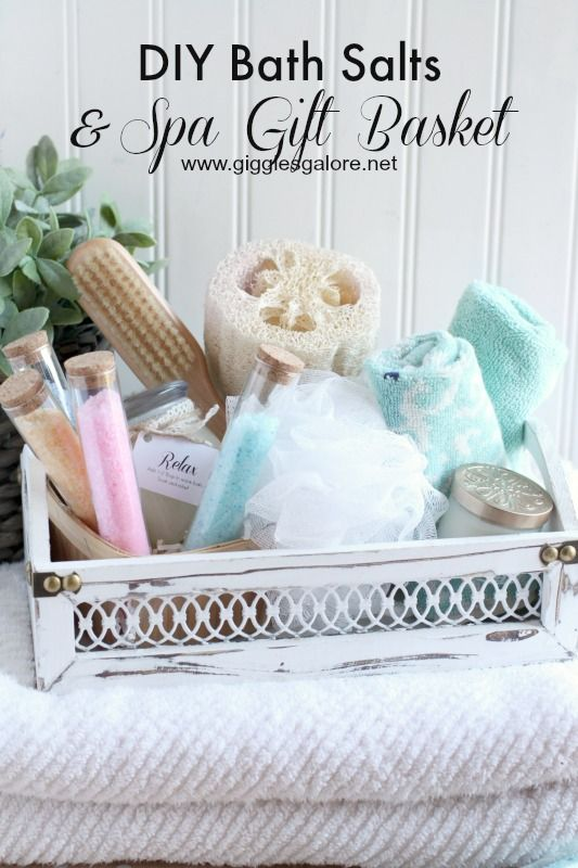 Diy Bath Salts Spa Gift Basket Recipe Diy Spa Gifts Baskets Bath Gift Basket Spa Gift Basket