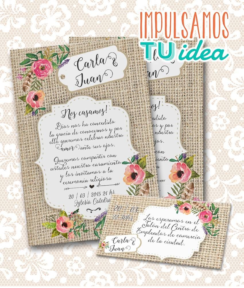 Invitación De Boda Para Imprimir Tarjeta Y Personal C Y J