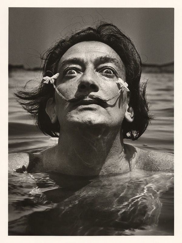 Salvador Dali in water, with flowers in his moustache | Cool ...