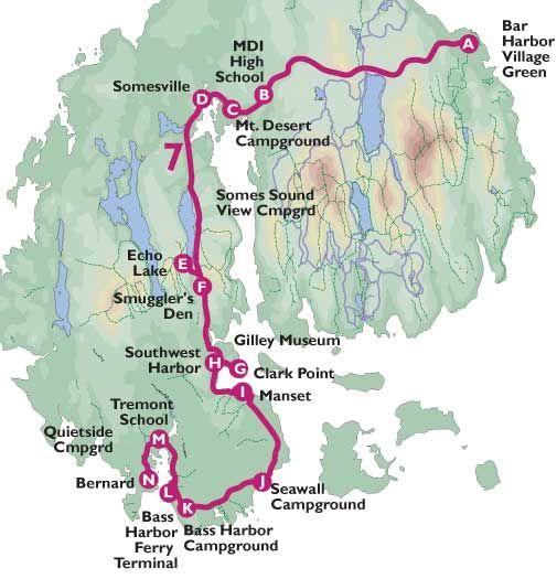 Island Explorer free shuttle service Map of Southwest Harbor route