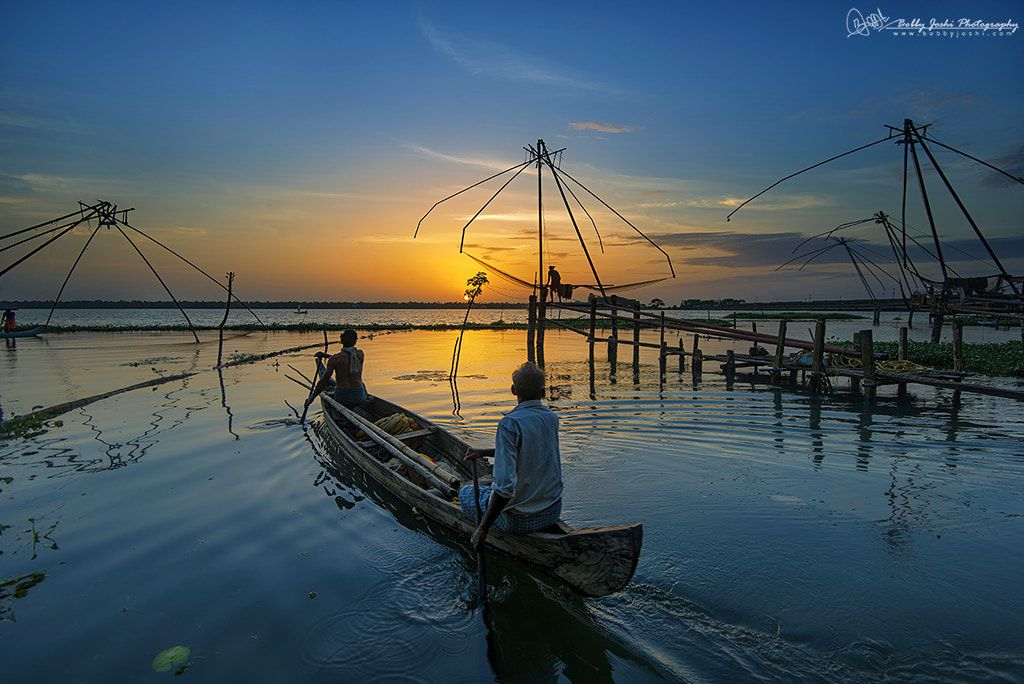 Indian Fisherman Returning At The End Of The Day A Late Evening Shot Taken Outside Fishing Villa Village Photography Sunset Photography Landscape Photography