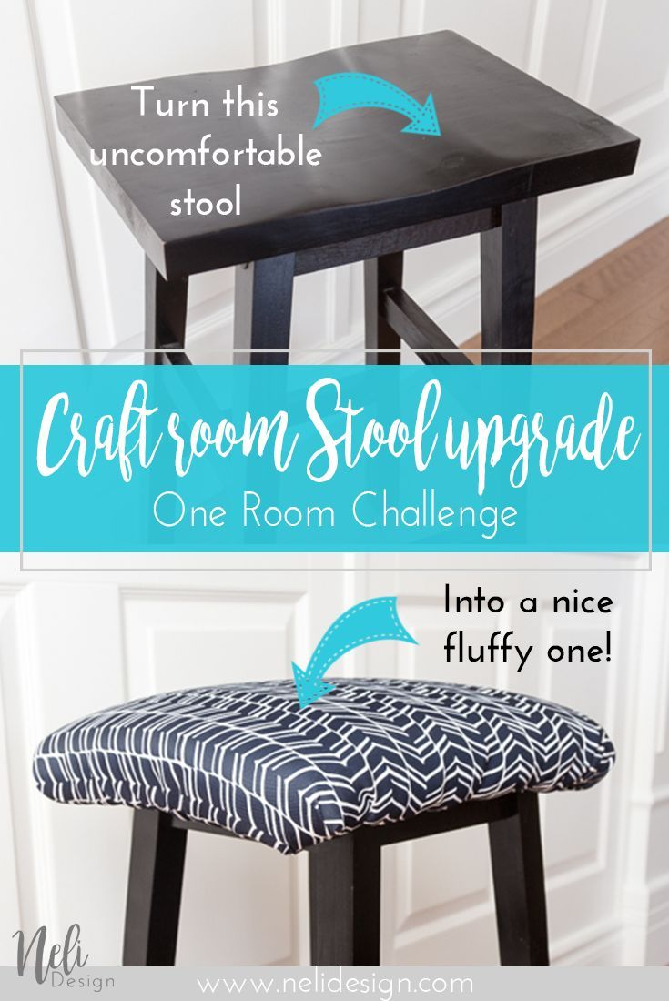 Diy Stool Square Cover Fabric Dark Blue Comfortable Easy Tutorial Upholstered Stool Home Decor