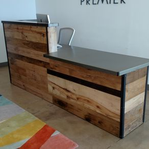Reclaimed wood steel reception desk by daniel chase for Local reclaimed wood