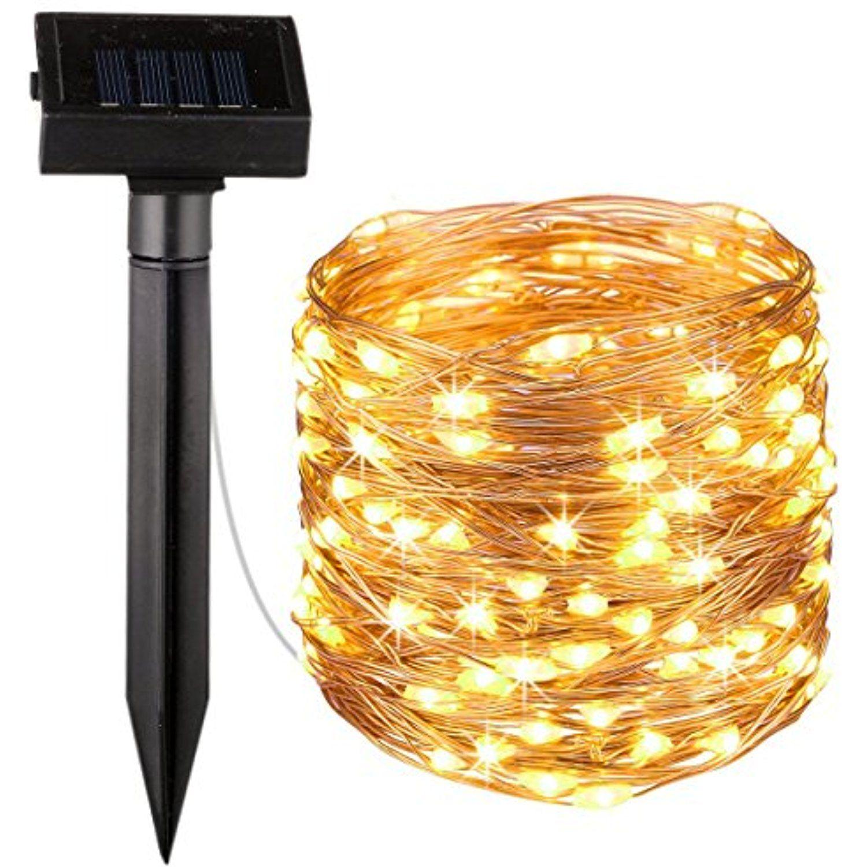 23 ft. 100-LED Integrated LED Solar Copper String Lights Indoor ...