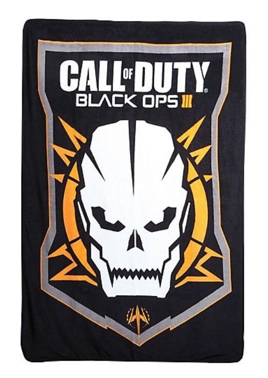 Call Of Duty Black Ops 3 Skull Logo Super Plush Throw Blanket 45X60 Gift NWT