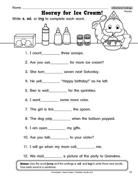 Language Arts Worksheet Inflectional Endings The Mailbox 2nd Grade Worksheets Inflectional Endings Suffixes Worksheets Suffix ing worksheets