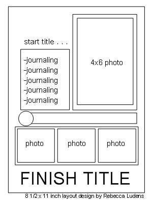 List Journaling Free Scrapbook Page Sketch - 8.5x11 Inch Sketch