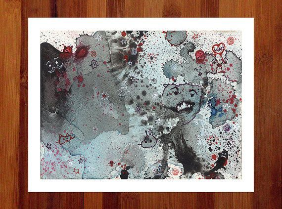 A print of my penandink and watercolor drawing Little Blue Exploding Galaxy A print of my penandink and watercolor drawing Little Blue Exploding Galaxy