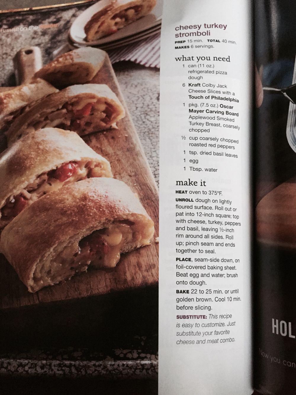 Cheesy turkey Stromboli Kraft recipes, Kraft food and