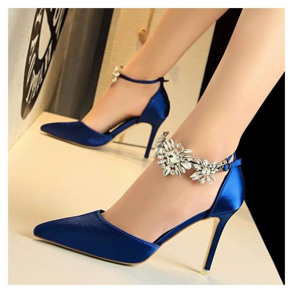 Women S Royal Blue Ankle Strap Pointy Toe Stiletto Heels Wedding Shoes Royal Blue Heels Wedding P Wedding Shoes Heels Ankle Strap Heels Blue Heels Wedding
